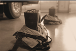 Sepia Tone Image of Fire Fighter Equipment on the Ground